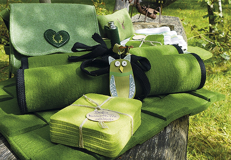 Filzwaren grün