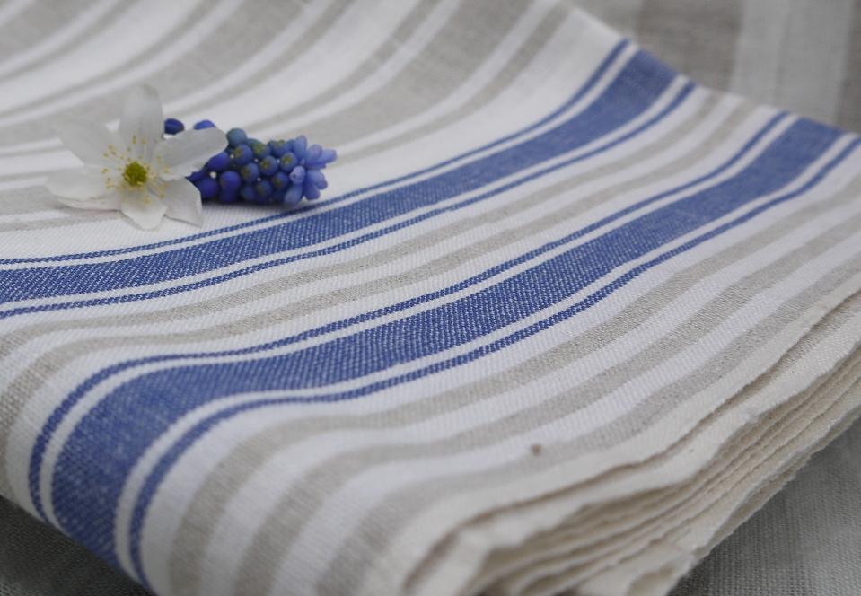 Leinen roh Streifen blau
